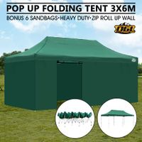 OGL 3x6M Pop Up Outdoor Folding Marquee Gazebo Party Tent Green