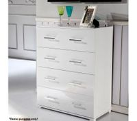 High Gloss White 4 Drawer Tallboy