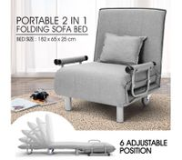 Portable Folding Rollaway Bed/Chair with Mattress-Single-Grey