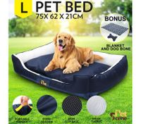 Soft Washable Pet Bed Mattress with Blanket & Dog Bone-Large