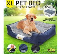 Soft Washable Pet Bed Mattress with Blanket & Dog Bone-XLarge