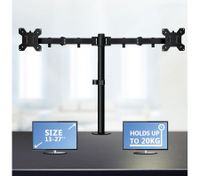 Computer Monitor Desk Mount Bracket Dual LED LCD 2 Arms Holds