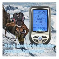 Portable 8 In 1 Multifunction Lcd Compass Altimeter Thermo Temperature Calendar