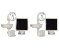 2x Outdoor Courtyard Weatherproof Solar Powered Motion PIR Sensor Lights