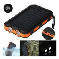 Solar Power Bank 20000Mah Dual Usb Port Outdoor Waterproof Power Bank White