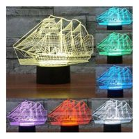 Sailing Boat Gift 3D Night Light Bulbing Lamp 7 Color Dimming Illusion LED Table Lamp
