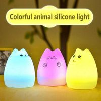 Cat USB LED Night Light Silicone Soft Baby Nursery Lamp Breathing A