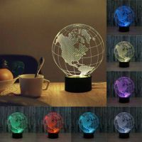 3D Earth World Map Night Light 7 Color Change LED Lamp For Gifts