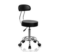Black Salon Stool w/ Backrest