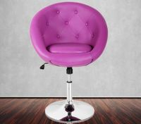 Purple PU Tufted Bar Chair