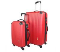 2pc Hard - Shell Luggage Trolley Set - Red