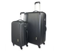 2pc Hard- Shell Luggage Trolley Set - Black