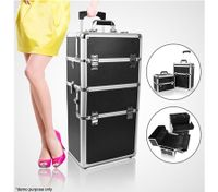 Black Beauty & Make Up Trolley Travel Case