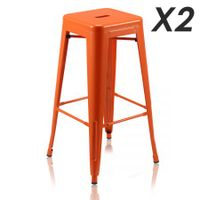 Set of 2 Modern Metal Bar Stools-jacinth