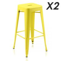 Set of 2 Modern Metal Bar Stools-yellow