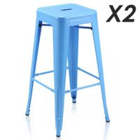 Set of 2 Modern Metal Bar Stools-blue
