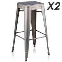 Set of 2 Tall Metal Bar Stools- light grey