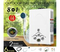 8 IN 1 Outdoor Portable Gas Water Heater System for Shower- White