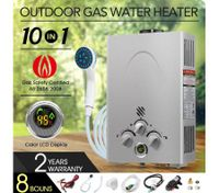 10 IN 1 Outdoor Portable Gas Water Heater System for Shower - Silver
