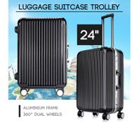 "24"" Black Lightweight Hard Case Aluminum Luggage Suitcase with Wheels"