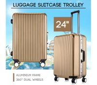"24"" Champagne Lightweight Hard Case Aluminum Luggage Trolley"