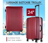 "24"" Red Lightweight Hard Case Aluminum Luggage Suitcase Trolley"