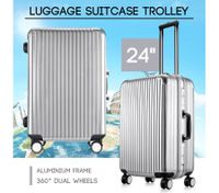 "24"" Silver Lightweight Hard Case Aluminum Luggage Suitcase Trolley Carry On Bag"