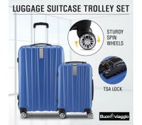 2Pc Hard Shell Luggage Suitcase Set-Blue With TSA Lock Lightweight