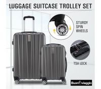 2Pc Hard Shell Luggage Suitcase Set-Grey With TSA Lock Lightweight