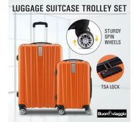 2Pc Hard Shell Luggage Suitcase Set-Orange With TSA Lock Lightweight