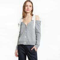 Haoduoyi Women Off-the-shoulder Strip Tie Up Sweater Pullover