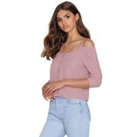 Haoduoyi Women Cold Shoulder Single Breasted Blouse
