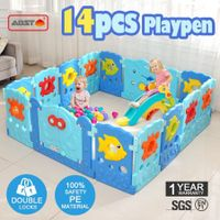 14 Sided Panel Baby Playpen Interactive Baby Room-Sea world