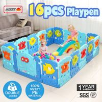 16 Sided Panel Baby Playpen Interactive Baby Room-Sea world