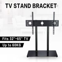 "32""-65"" TV Brackets Secure Height Adjustable TV Stand Portable Steel TV Stand with 8mm Tempered Glass Base"