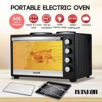 Maxkon 60L Portable Oven Electric Convection Toaster with Rotisserie & Hotplates