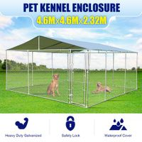 Outdoor Galvanized Steel Fencing Pet Enclosure & Dog Run Kennel with Roof Shade-4.6mx4.6mx2.32m