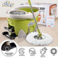 DR FUSSY 12L Walkable Spin Swivel Mop Bucket System with 4 Bonus Heads & Wheeled Bucket - Green