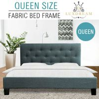 LUXDREAM  Grey Linen Bed Frame-Queen