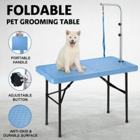 Foldable Pet Grooming Table with Iron Frame - 97cm in Length BLUE