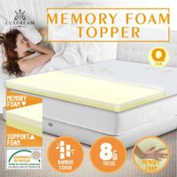 Queen Memory Foam Composite Mattress Topper with Bamboo Fabric Cover 8CM Thick