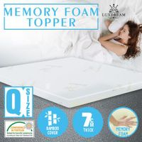 Memory Foam Mattress Topper with Bamboo Topper Cover - Queen Bed 7cm Thick