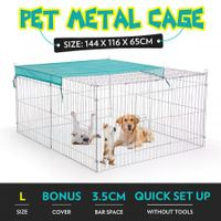 1.4M Pet Metal Cage Playpen Dog Cat Enclosure with Fabric Cover
