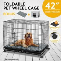 "42"" Metal Pet Cage Wheeled Cat Crate Collapsible Dog Kennel with 2 Trays Cushion & Cover"