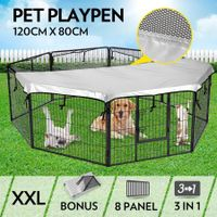 8-Panel Pet Playpen Dog Cat Enclosure with Fabric Cover 120x80CM/ Panel - XXL