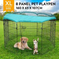 "42"" 8-Panel Pet Playpen Puppy Cat Dog Enclosure with Green Fabric Cover 63x107CM/ Panel"