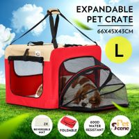 Expandable Pet Carrier Foldable Dog Cage Steel Frame Cat Crate with Mat - Red & Beige L Size