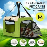 Expandable Pet Carrier Foldable Dog Cage Steel Frame Cat Crate with Mat - Green & Beige M Size