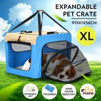 Expandable Pet Carrier Foldable Dog Cage Steel Frame Cat Crate with Mat - Blue & Beige XL Size