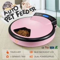 5-Meal Auto Pet Feeder Dog/Cat Bowl Automatic Food Dispenser with LCD Display 1.2L - Pink
